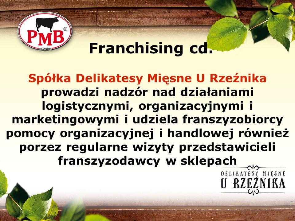 Spółka Delikatesy Mięsne U Rzeźnika prowadzi nadzór nad działaniami logistycznymi, organizacyjnymi i marketingowymi i udziela franszyzobiorcy pomocy o