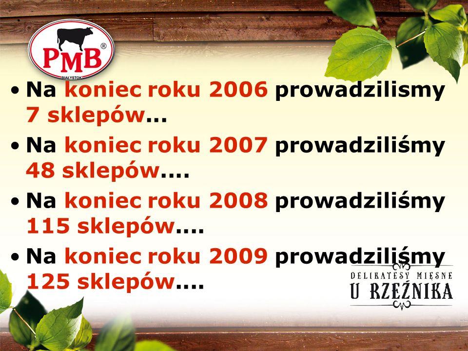 Na koniec roku 2006 prowadzilismy 7 sklepów... Na koniec roku 2007 prowadziliśmy 48 sklepów.... Na koniec roku 2008 prowadziliśmy 115 sklepów.... Na k