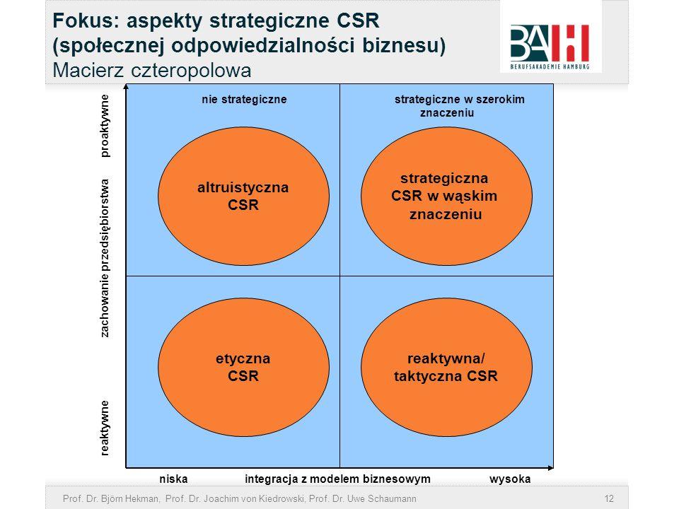 Prof. Dr. Björn Hekman, Prof. Dr. Joachim von Kiedrowski, Prof. Dr. Uwe Schaumann12 Fokus: aspekty strategiczne CSR (społecznej odpowiedzialności bizn