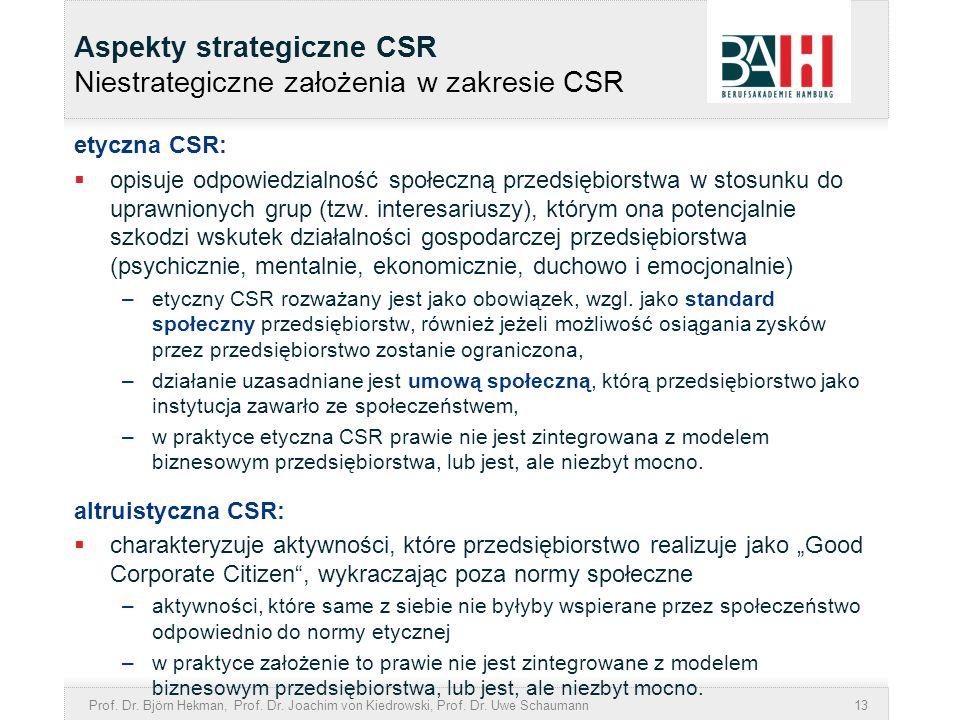 Prof. Dr. Björn Hekman, Prof. Dr. Joachim von Kiedrowski, Prof. Dr. Uwe Schaumann13 Aspekty strategiczne CSR Niestrategiczne założenia w zakresie CSR