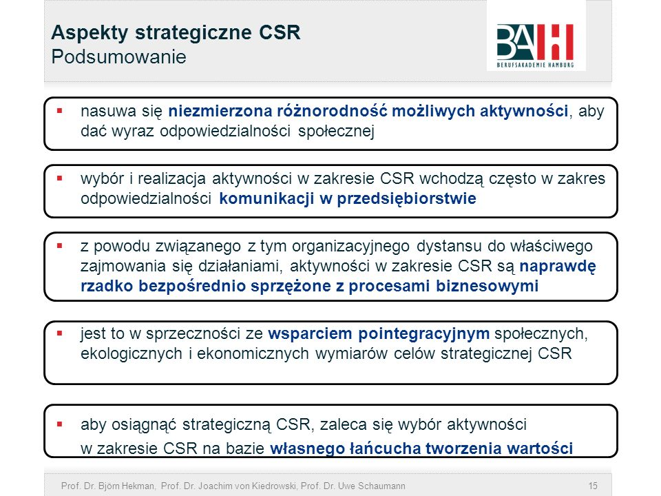 Prof. Dr. Björn Hekman, Prof. Dr. Joachim von Kiedrowski, Prof. Dr. Uwe Schaumann15 Aspekty strategiczne CSR Podsumowanie nasuwa się niezmierzona różn