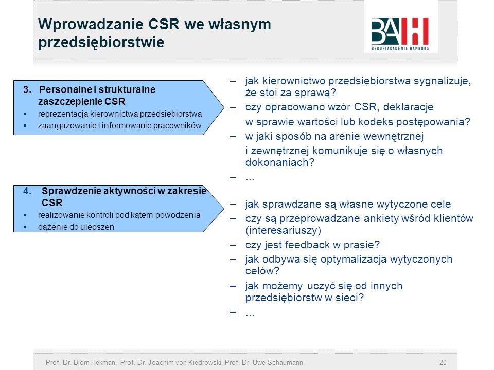 Prof. Dr. Björn Hekman, Prof. Dr. Joachim von Kiedrowski, Prof. Dr. Uwe Schaumann20 –jak kierownictwo przedsiębiorstwa sygnalizuje, że stoi za sprawą?