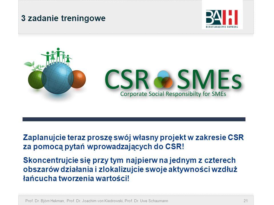 Prof. Dr. Björn Hekman, Prof. Dr. Joachim von Kiedrowski, Prof. Dr. Uwe Schaumann21 3 zadanie treningowe Zaplanujcie teraz proszę swój własny projekt