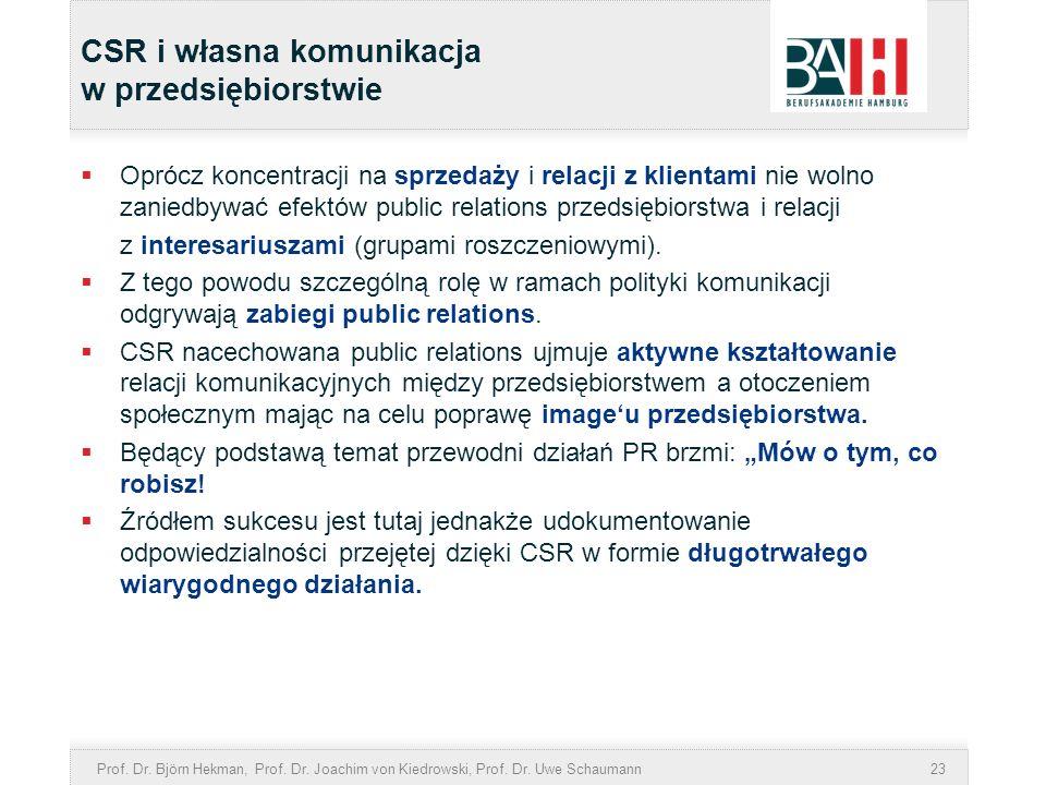 Prof. Dr. Björn Hekman, Prof. Dr. Joachim von Kiedrowski, Prof. Dr. Uwe Schaumann23 CSR i własna komunikacja w przedsiębiorstwie Oprócz koncentracji n