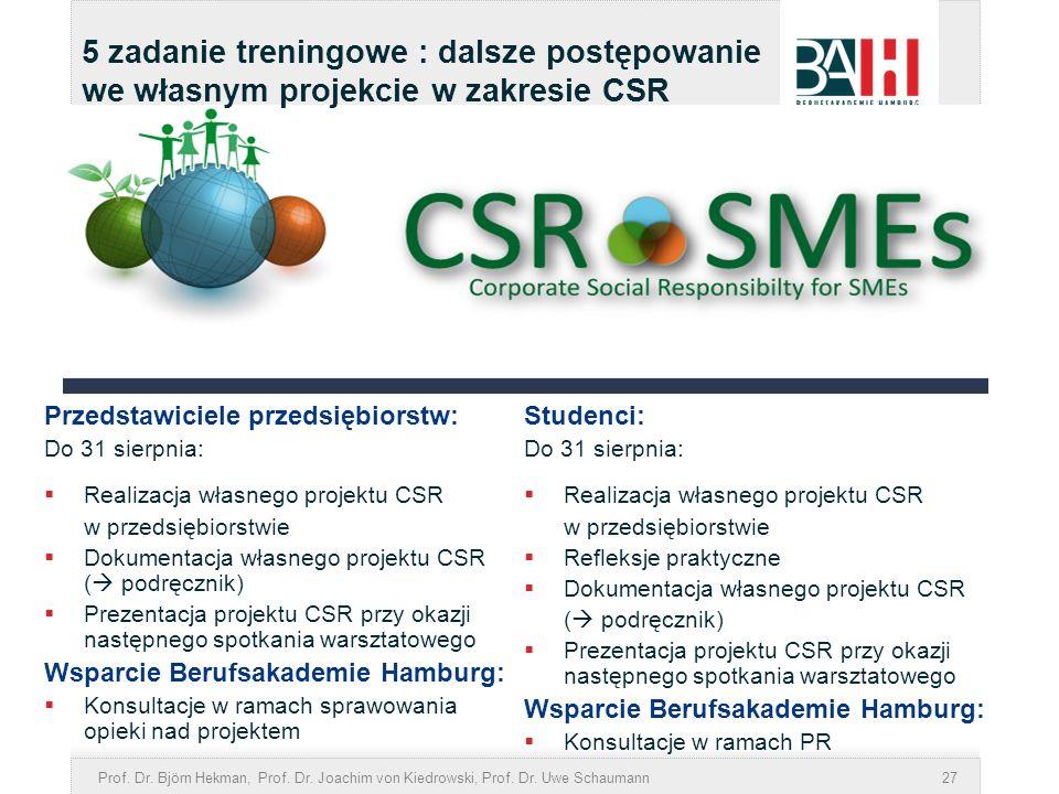 Prof. Dr. Björn Hekman, Prof. Dr. Joachim von Kiedrowski, Prof. Dr. Uwe Schaumann27 5 zadanie treningowe : dalsze postępowanie we własnym projekcie w