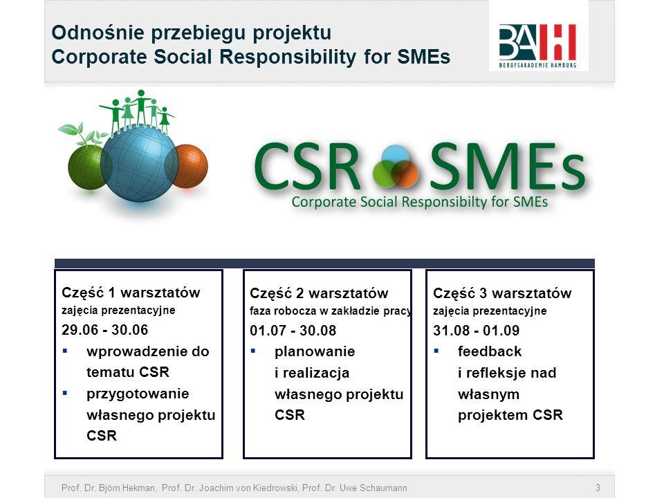 Prof. Dr. Björn Hekman, Prof. Dr. Joachim von Kiedrowski, Prof. Dr. Uwe Schaumann3 Odnośnie przebiegu projektu Corporate Social Responsibility for SME
