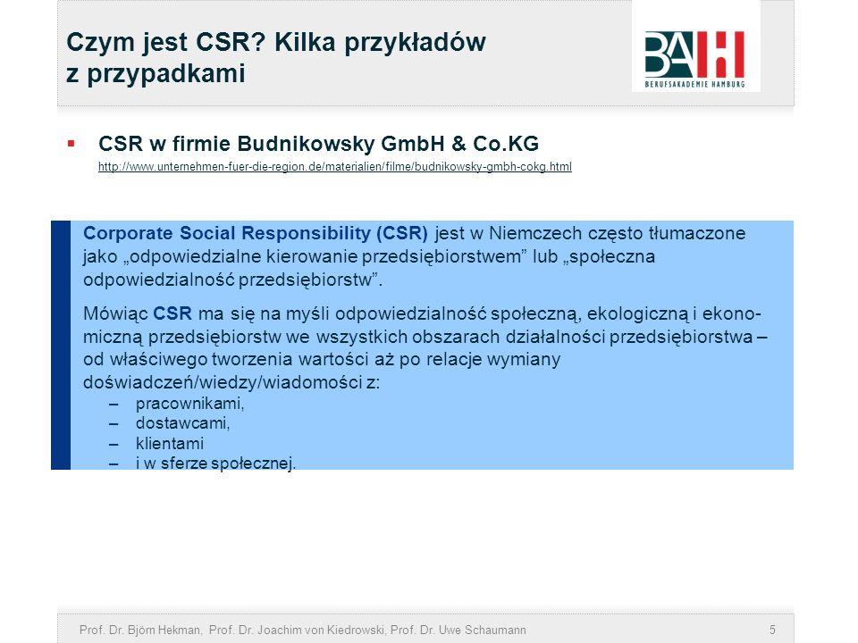 Prof. Dr. Björn Hekman, Prof. Dr. Joachim von Kiedrowski, Prof. Dr. Uwe Schaumann5 Czym jest CSR? Kilka przykładów z przypadkami CSR w firmie Budnikow