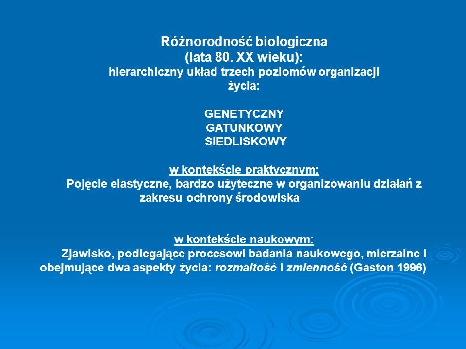 Różnorodność biologiczna (lata 80. XX wieku): hierarchiczny układ trzech poziomów organizacji życia: GENETYCZNY GATUNKOWY SIEDLISKOWY w kontekście pra