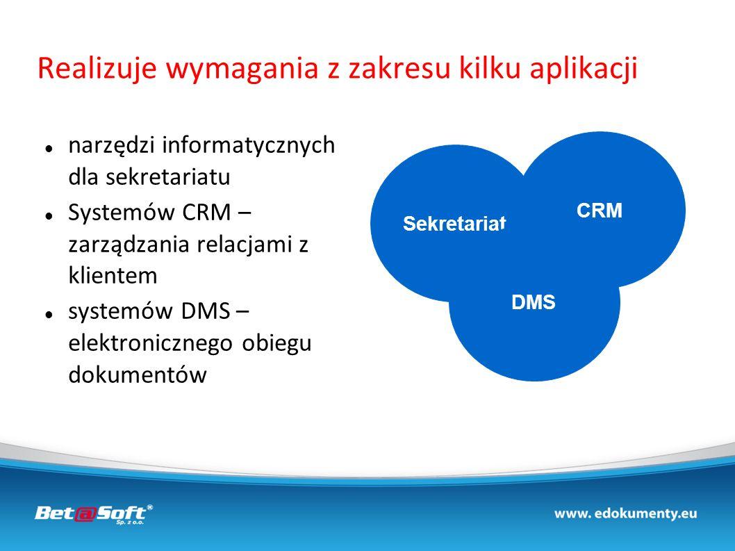 Realizuje wymagania z zakresu kilku aplikacji narzędzi informatycznych dla sekretariatu Systemów CRM – zarządzania relacjami z klientem systemów DMS –