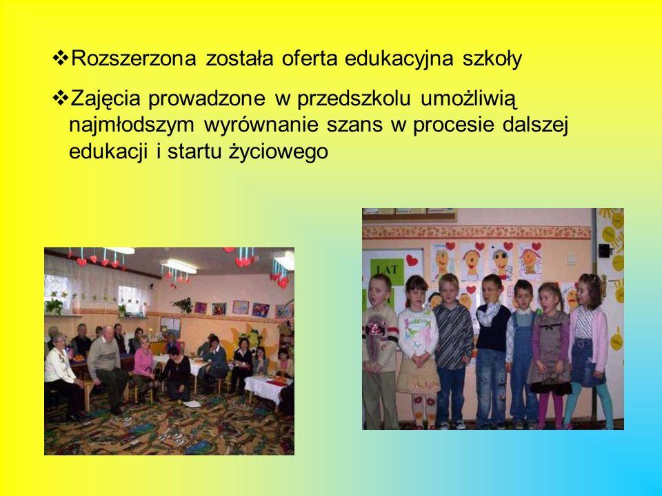 Rozszerzona została oferta edukacyjna szkoły Zajęcia prowadzone w przedszkolu umożliwią najmłodszym wyrównanie szans w procesie dalszej edukacji i sta