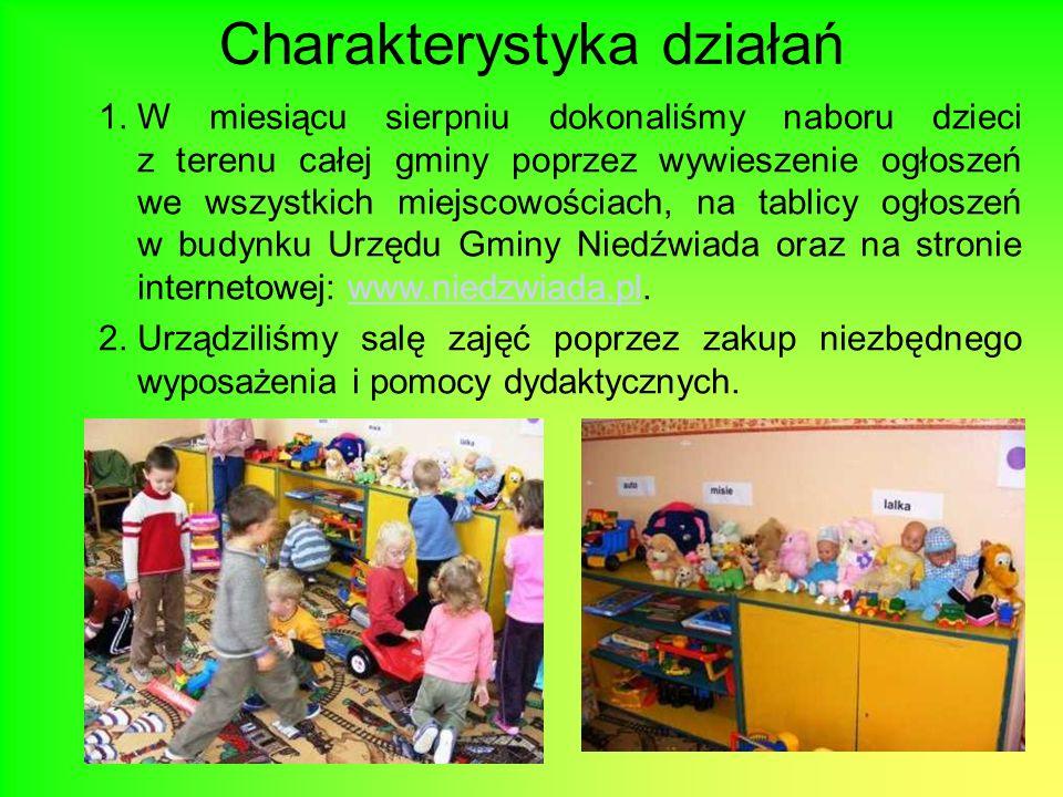 Charakterystyka działań 1.W miesiącu sierpniu dokonaliśmy naboru dzieci z terenu całej gminy poprzez wywieszenie ogłoszeń we wszystkich miejscowościac