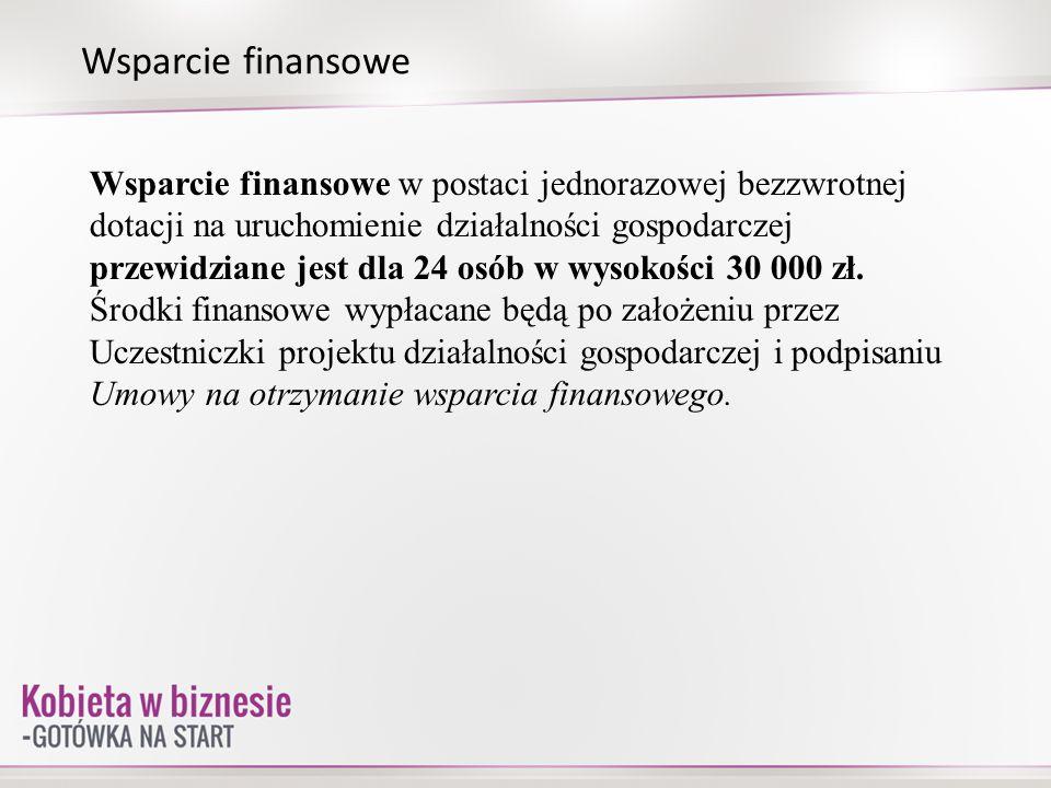 Wsparcie finansowe Wsparcie finansowe w postaci jednorazowej bezzwrotnej dotacji na uruchomienie działalności gospodarczej przewidziane jest dla 24 os