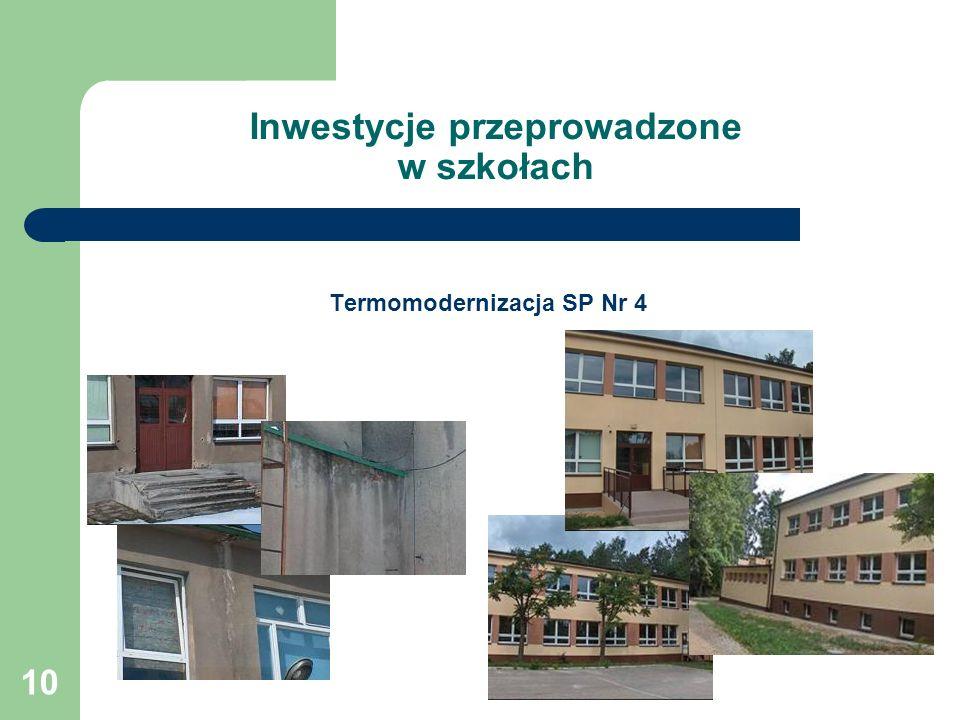 10 Inwestycje przeprowadzone w szkołach Termomodernizacja SP Nr 4