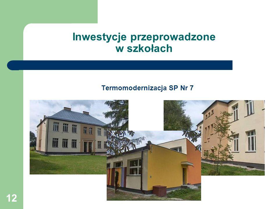 12 Inwestycje przeprowadzone w szkołach Termomodernizacja SP Nr 7