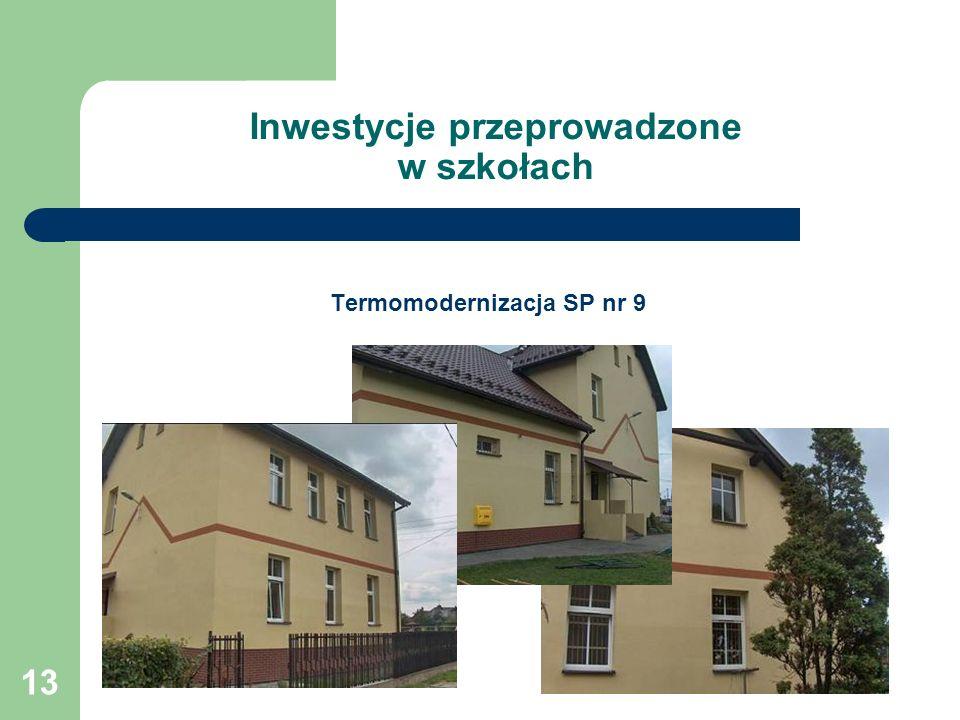 13 Inwestycje przeprowadzone w szkołach Termomodernizacja SP nr 9