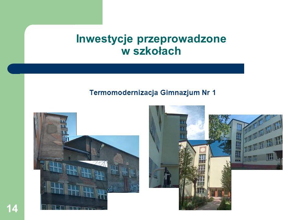 14 Inwestycje przeprowadzone w szkołach Termomodernizacja Gimnazjum Nr 1