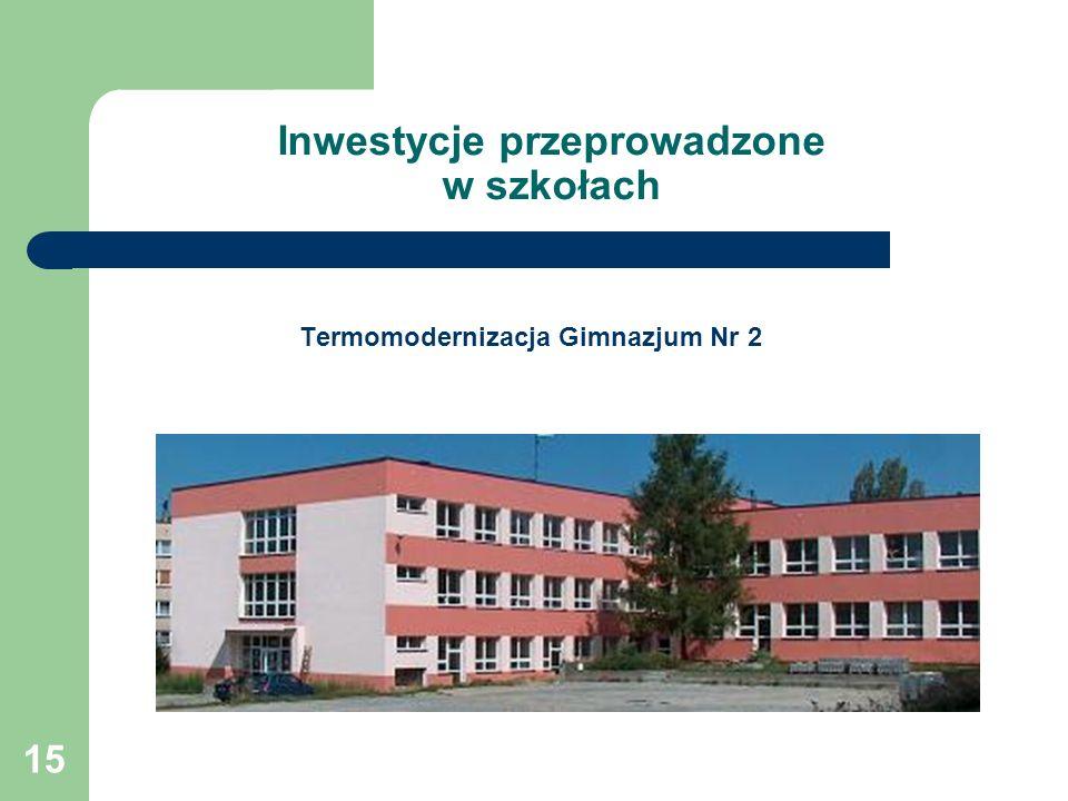 15 Inwestycje przeprowadzone w szkołach Termomodernizacja Gimnazjum Nr 2