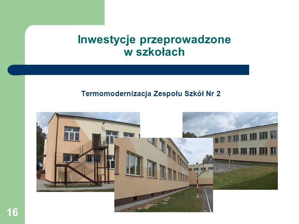 16 Inwestycje przeprowadzone w szkołach Termomodernizacja Zespołu Szkół Nr 2