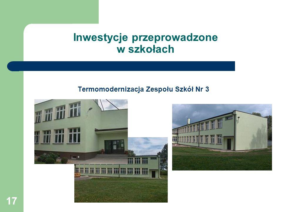 17 Inwestycje przeprowadzone w szkołach Termomodernizacja Zespołu Szkół Nr 3