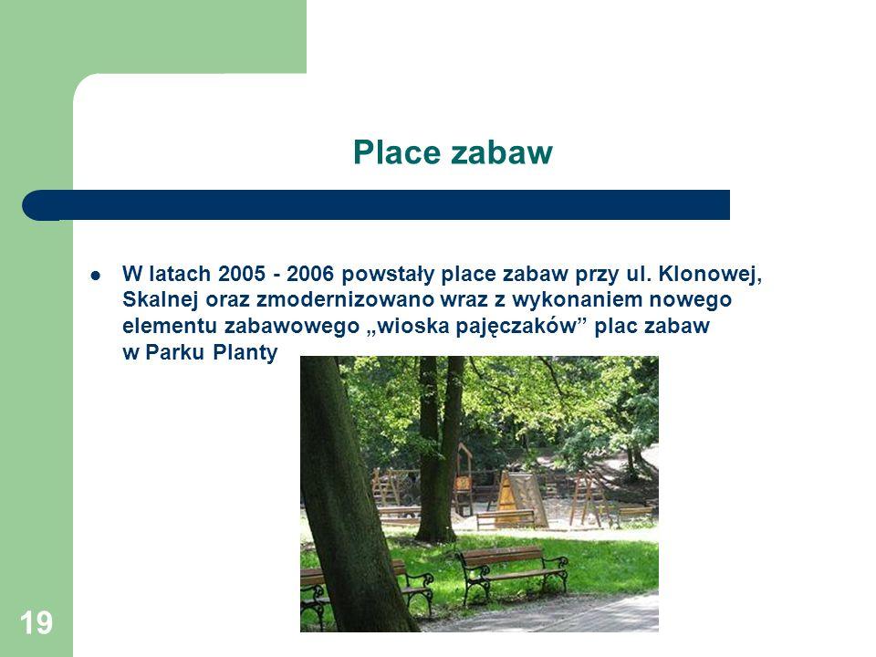 19 Place zabaw W latach 2005 - 2006 powstały place zabaw przy ul. Klonowej, Skalnej oraz zmodernizowano wraz z wykonaniem nowego elementu zabawowego w