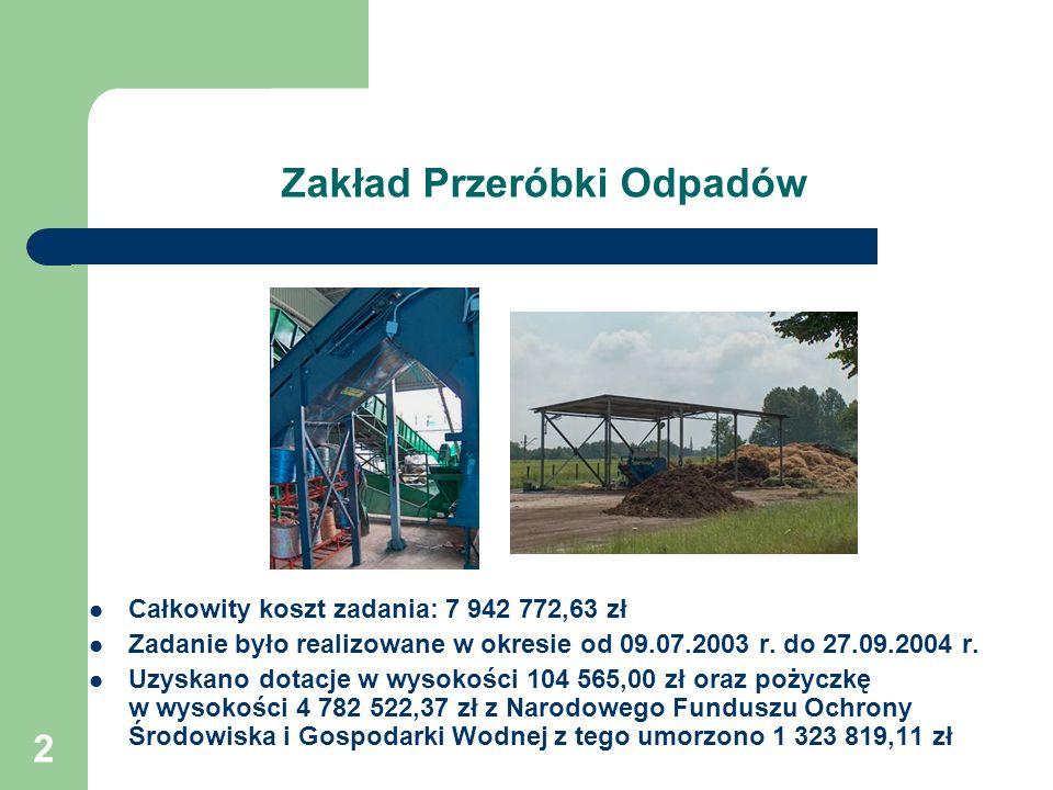 2 Zakład Przeróbki Odpadów Całkowity koszt zadania: 7 942 772,63 zł Zadanie było realizowane w okresie od 09.07.2003 r. do 27.09.2004 r. Uzyskano dota