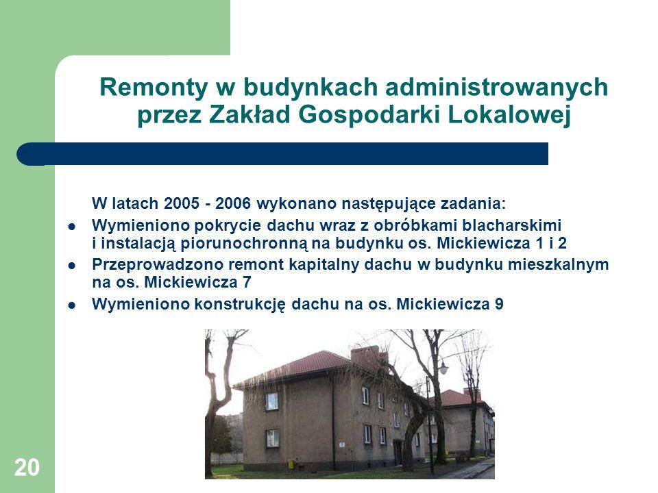 20 Remonty w budynkach administrowanych przez Zakład Gospodarki Lokalowej W latach 2005 - 2006 wykonano następujące zadania: Wymieniono pokrycie dachu