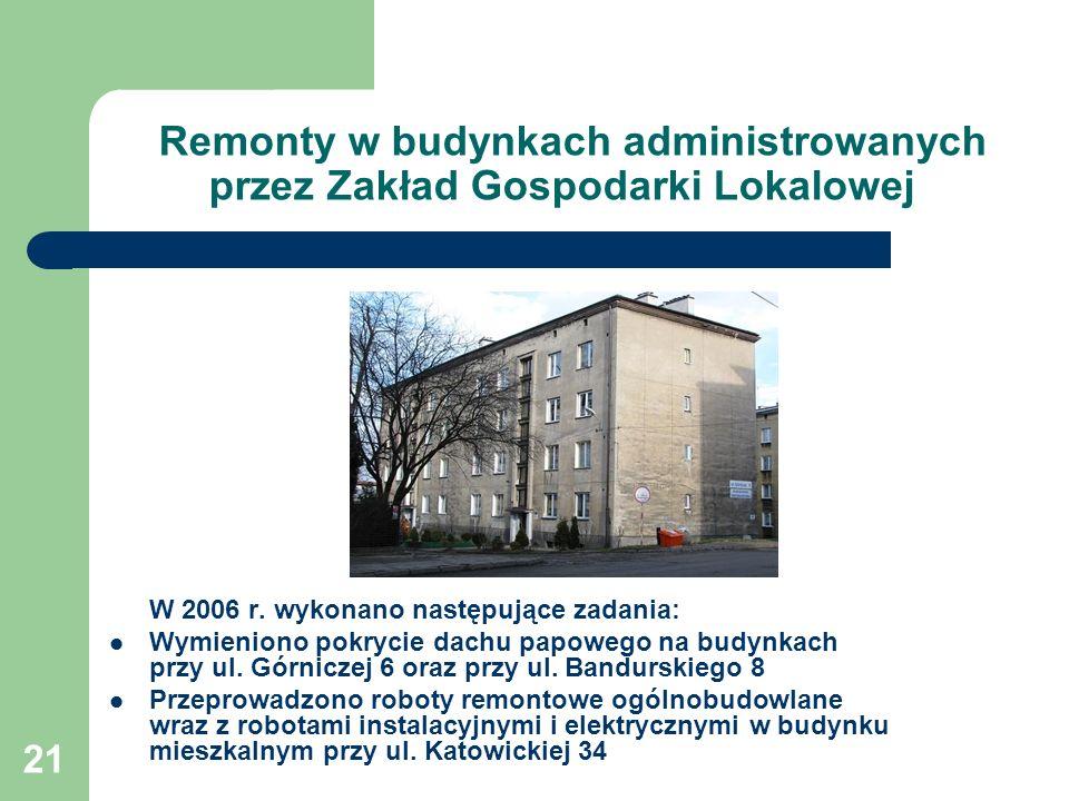 21 Remonty w budynkach administrowanych przez Zakład Gospodarki Lokalowej W 2006 r. wykonano następujące zadania: Wymieniono pokrycie dachu papowego n