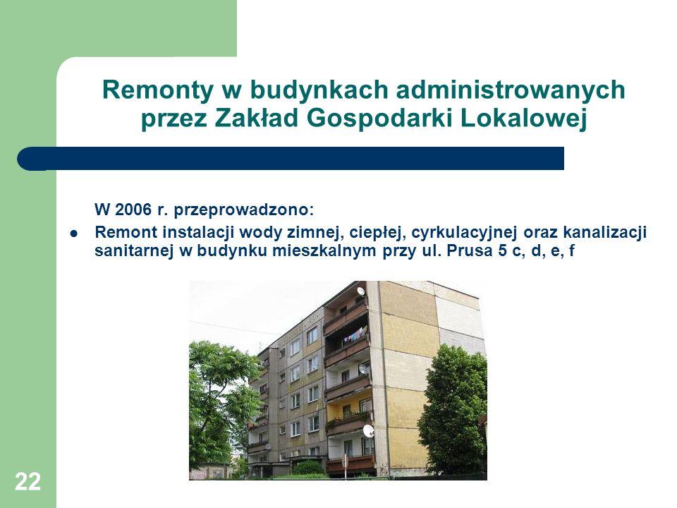 22 Remonty w budynkach administrowanych przez Zakład Gospodarki Lokalowej W 2006 r. przeprowadzono: Remont instalacji wody zimnej, ciepłej, cyrkulacyj