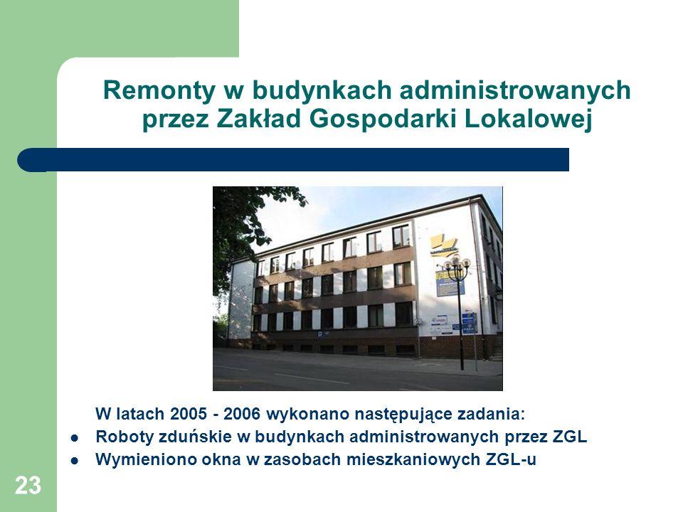 23 Remonty w budynkach administrowanych przez Zakład Gospodarki Lokalowej W latach 2005 - 2006 wykonano następujące zadania: Roboty zduńskie w budynka
