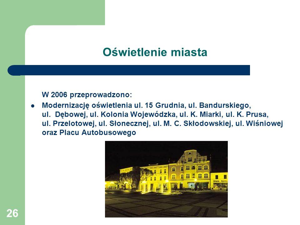 26 Oświetlenie miasta W 2006 przeprowadzono: Modernizację oświetlenia ul. 15 Grudnia, ul. Bandurskiego, ul. Dębowej, ul. Kolonia Wojewódzka, ul. K. Mi