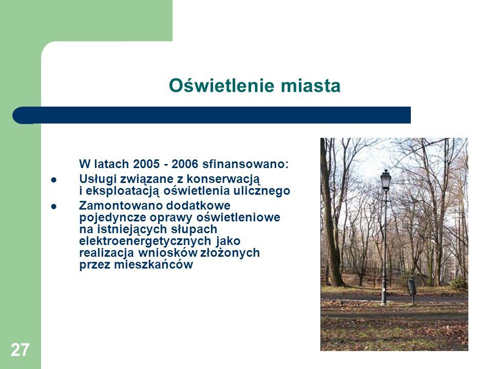 27 Oświetlenie miasta W latach 2005 - 2006 sfinansowano: Usługi związane z konserwacją i eksploatacją oświetlenia ulicznego Zamontowano dodatkowe poje