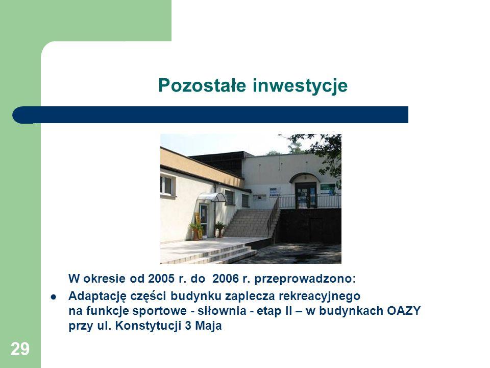 29 Pozostałe inwestycje W okresie od 2005 r. do 2006 r. przeprowadzono: Adaptację części budynku zaplecza rekreacyjnego na funkcje sportowe - siłownia