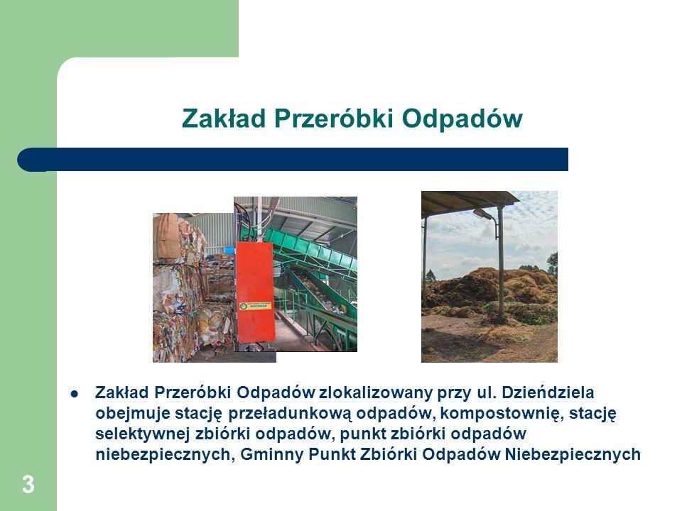 3 Zakład Przeróbki Odpadów Zakład Przeróbki Odpadów zlokalizowany przy ul. Dzieńdziela obejmuje stację przeładunkową odpadów, kompostownię, stację sel