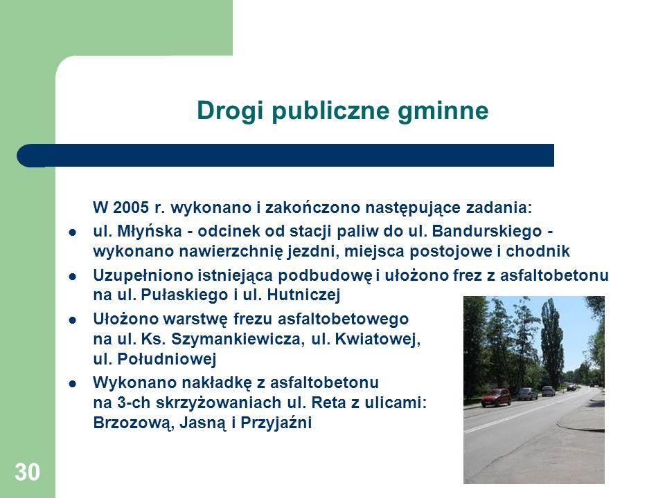 30 Drogi publiczne gminne W 2005 r. wykonano i zakończono następujące zadania: ul. Młyńska - odcinek od stacji paliw do ul. Bandurskiego - wykonano na