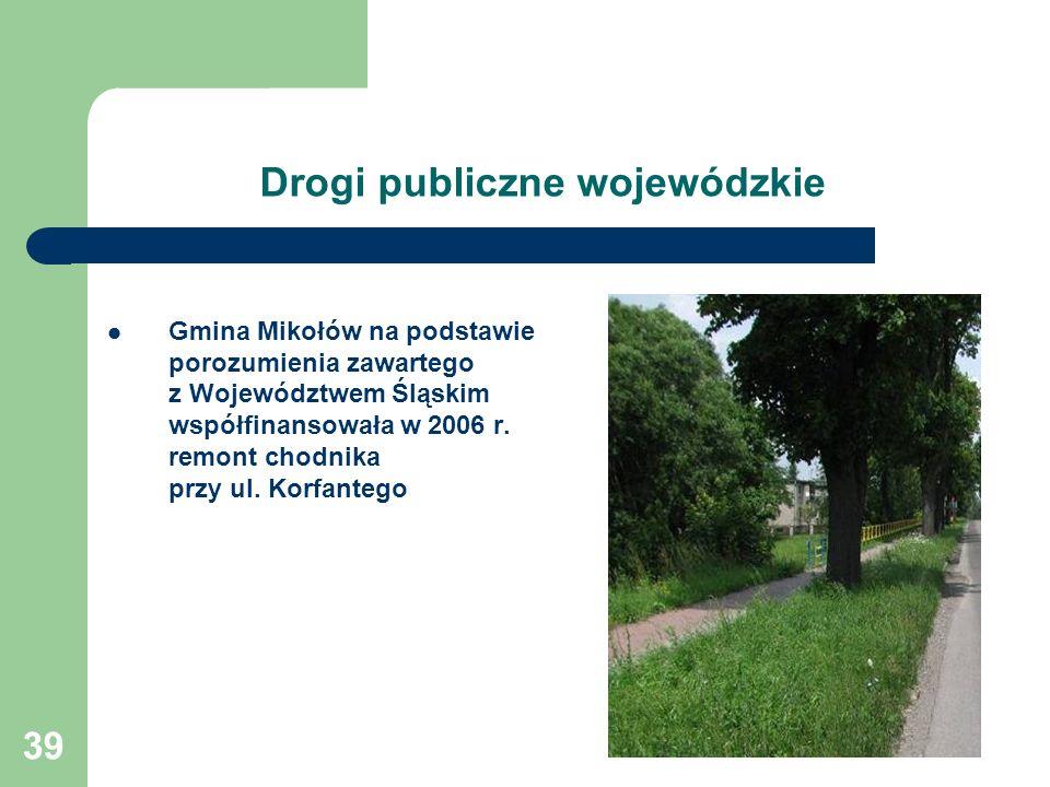 39 Drogi publiczne wojewódzkie Gmina Mikołów na podstawie porozumienia zawartego z Województwem Śląskim współfinansowała w 2006 r. remont chodnika prz