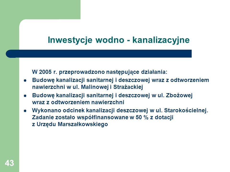 43 Inwestycje wodno - kanalizacyjne W 2005 r. przeprowadzono następujące działania: Budowę kanalizacji sanitarnej i deszczowej wraz z odtworzeniem naw