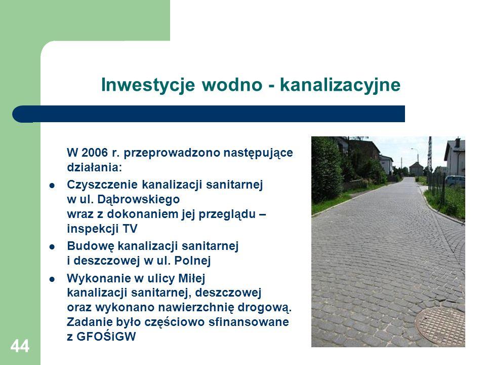 44 Inwestycje wodno - kanalizacyjne W 2006 r. przeprowadzono następujące działania: Czyszczenie kanalizacji sanitarnej w ul. Dąbrowskiego wraz z dokon