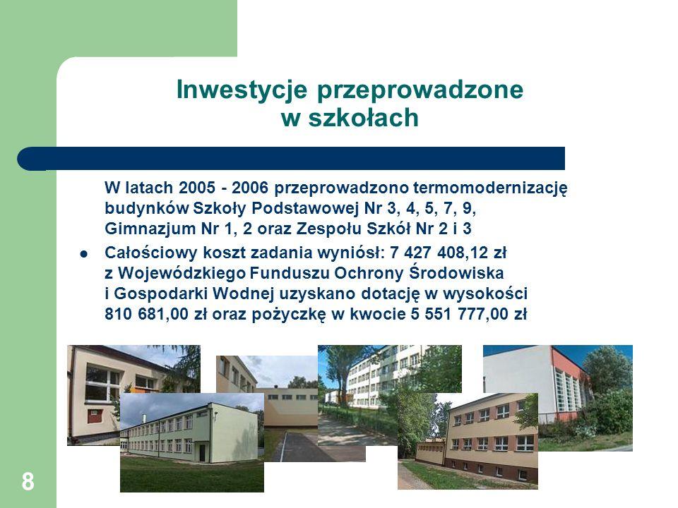 8 Inwestycje przeprowadzone w szkołach W latach 2005 - 2006 przeprowadzono termomodernizację budynków Szkoły Podstawowej Nr 3, 4, 5, 7, 9, Gimnazjum N