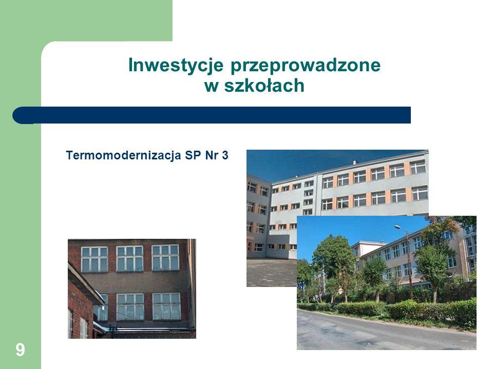9 Inwestycje przeprowadzone w szkołach Termomodernizacja SP Nr 3