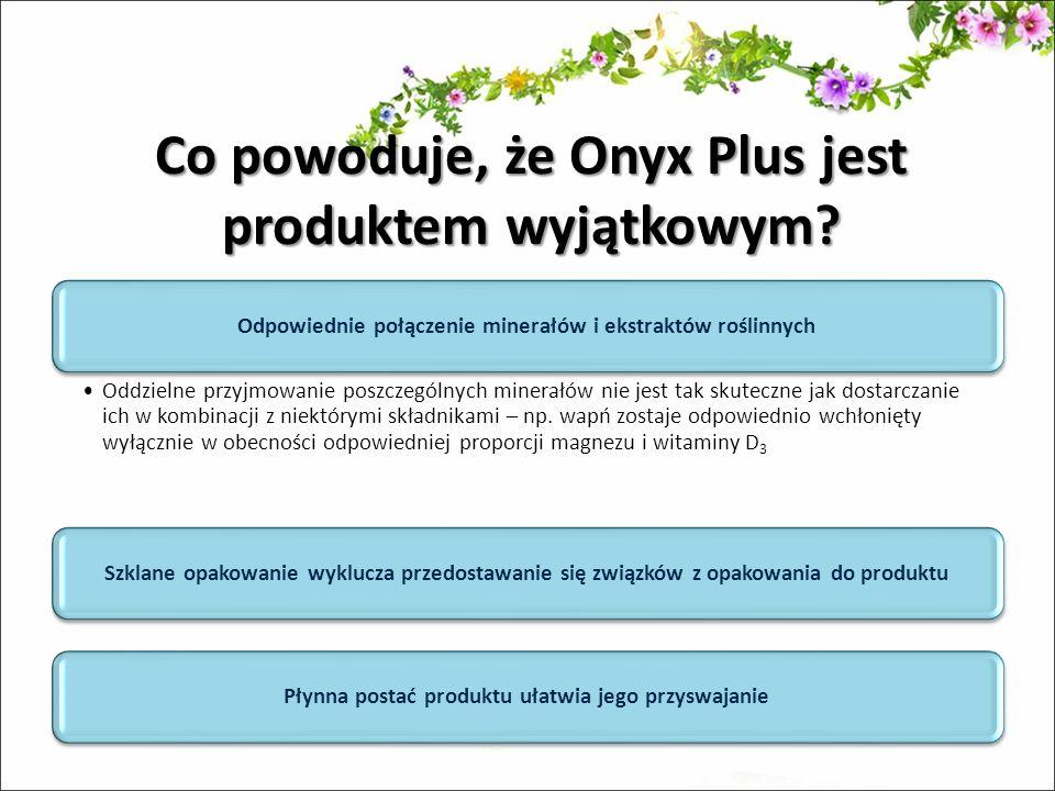 Co powoduje, że Onyx Plus jest produktem wyjątkowym? Odpowiednie połączenie minerałów i ekstraktów roślinnych Oddzielne przyjmowanie poszczególnych mi