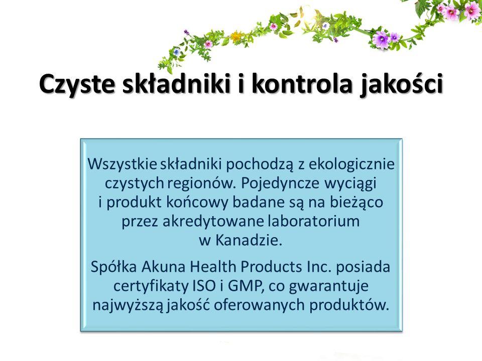 Wszystkie składniki pochodzą z ekologicznie czystych regionów. Pojedyncze wyciągi i produkt końcowy badane są na bieżąco przez akredytowane laboratori