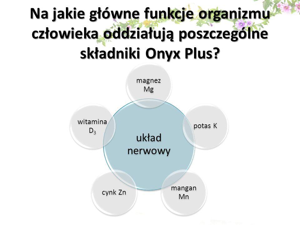 Na jakie główne funkcje organizmu człowieka oddziałują poszczególne składniki Onyx Plus? układ nerwowy magnez Mg potas K mangan Mn cynk Zn witamina D3