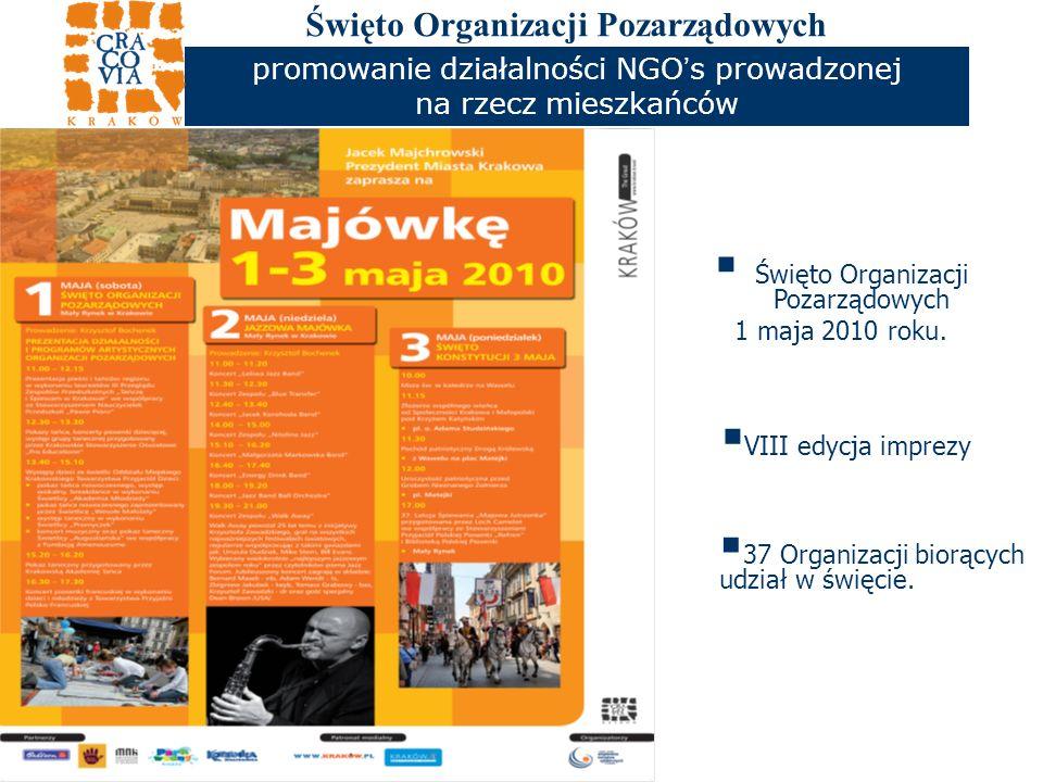 Święto Organizacji Pozarządowych promowanie działalności NGO s prowadzonej na rzecz mieszkańców Święto Organizacji Pozarządowych 1 maja 2010 roku.