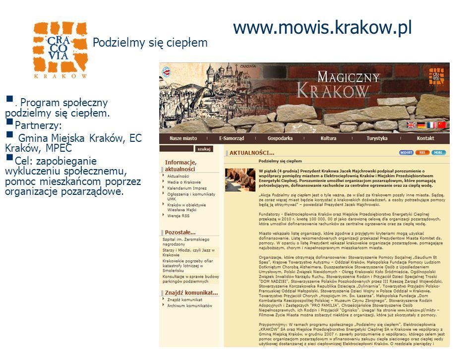 www.mowis.krakow.pl. Program społeczny podzielmy się ciepłem.