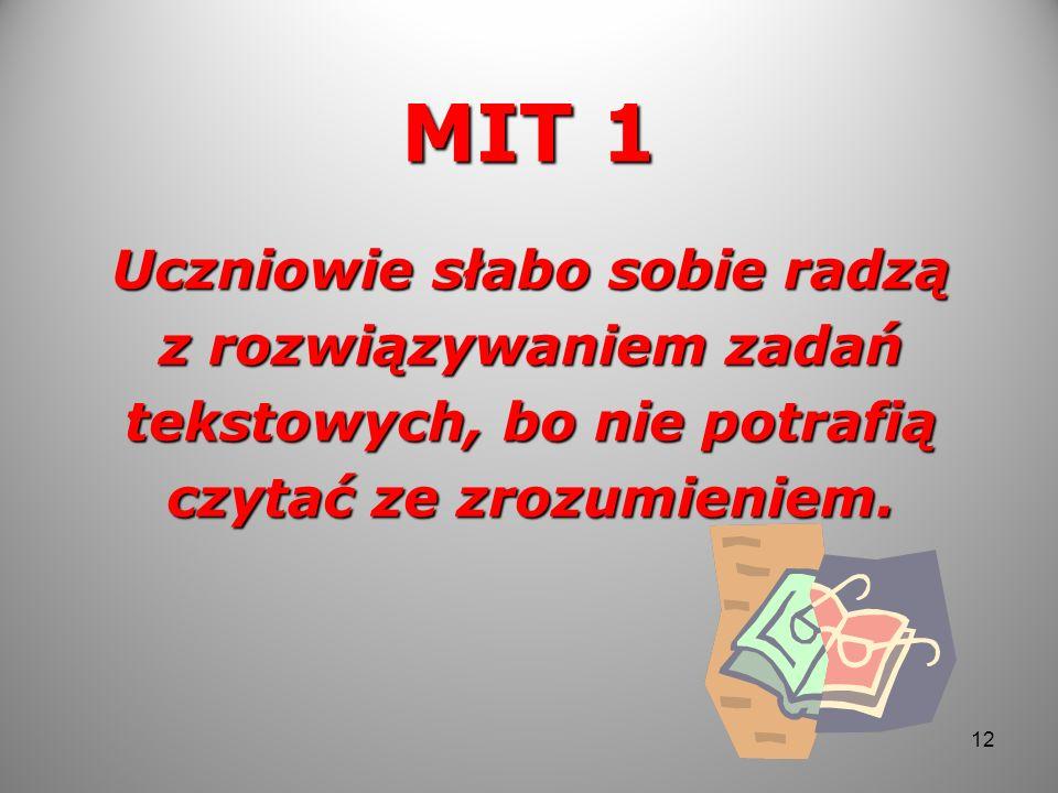 MIT 1 Uczniowie słabo sobie radzą z rozwiązywaniem zadań tekstowych, bo nie potrafią czytać ze zrozumieniem. 12