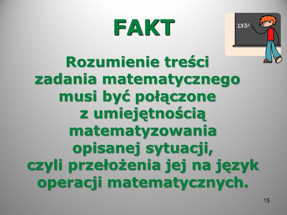 FAKT Rozumienie treści zadania matematycznego musi być połączone z umiejętnością matematyzowania opisanej sytuacji, czyli przełożenia jej na język ope