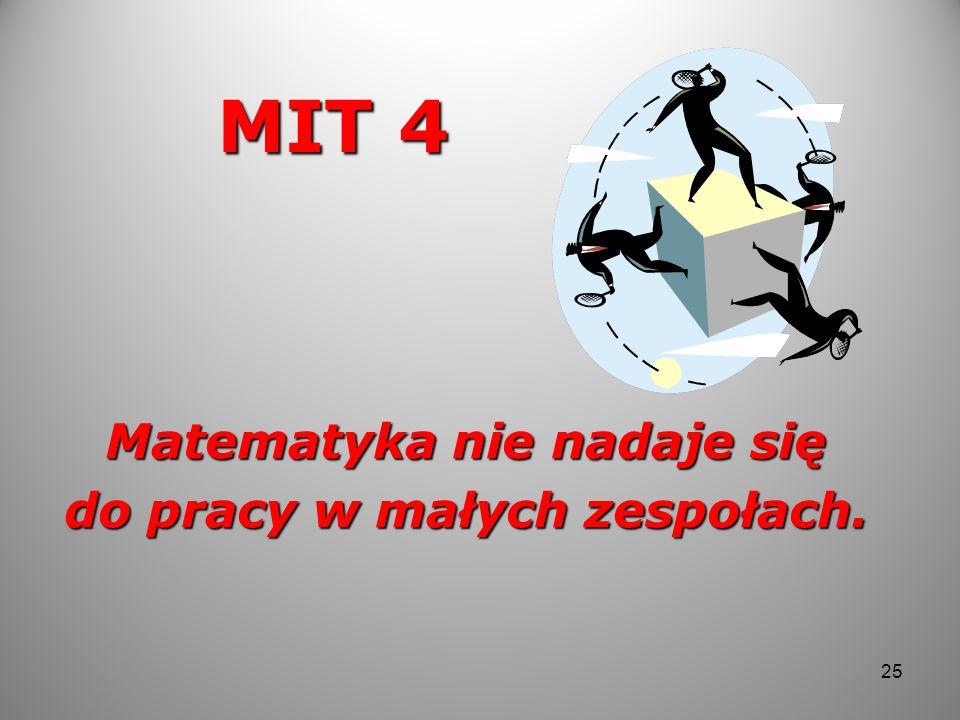 MIT 4 Matematyka nie nadaje się do pracy w małych zespołach. 25