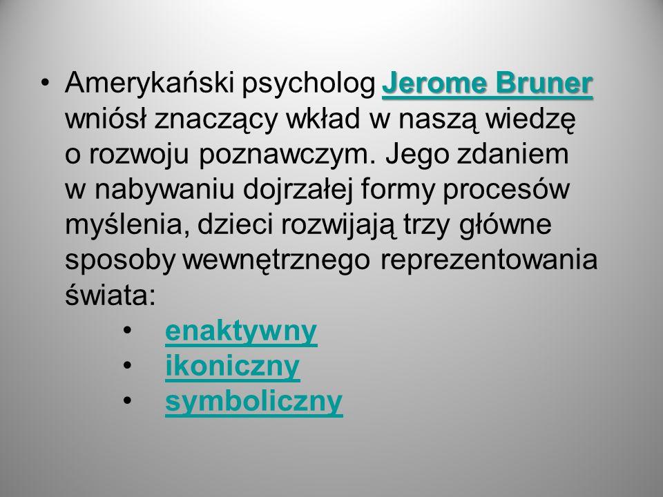 Jerome Bruner Jerome BrunerAmerykański psycholog Jerome Bruner wniósł znaczący wkład w naszą wiedzę o rozwoju poznawczym. Jego zdaniem w nabywaniu doj