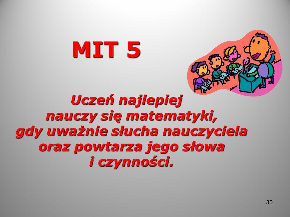 MIT 5 Uczeń najlepiej nauczy się matematyki, gdy uważnie słucha nauczyciela oraz powtarza jego słowa i czynności. 30