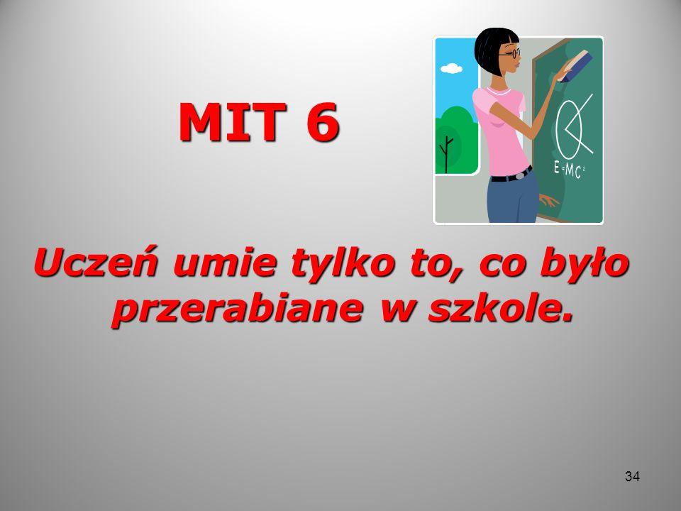 MIT 6 Uczeń umie tylko to, co było przerabiane w szkole. 34